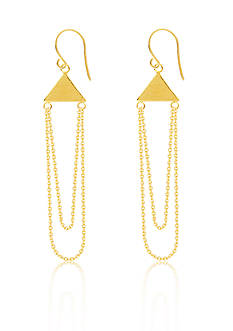 Belk & Co. 14k Yellow Gold Pyramid Double Dangle Earrings