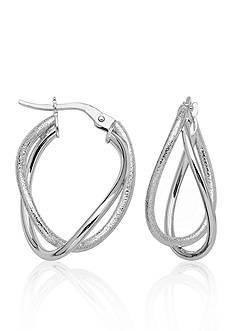 Belk & Co. 14K White Gold Double Loop High Polish and Textured Hoop Earrings