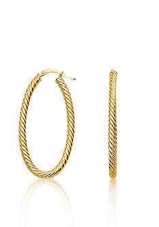 Belk & Co. 14k Yellow Gold Twisted Rope Oval Hoop Earrings