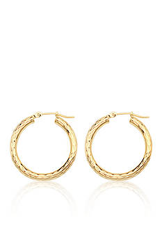 Belk & Co. 14k Yellow Gold Etched Hoop Earrings