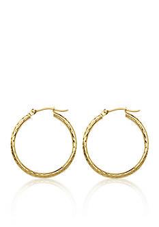 Belk & Co. 14K Yellow Gold Diamond Cut Hoop Earrings