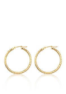 Belk & Co. 14K Yellow Gold Square Tube Diamond Cut Hoop Earrings