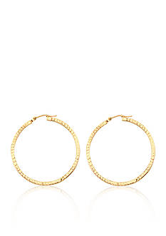 Belk & Co. 14K Yellow Gold Square Tube Diamond Cut Hoop Earrings