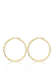 Belk & Co. 14K Yellow Gold Square Tube Full Diamond Cut Hoop Earrings