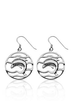 Belk & Co. Waves & Dolphin Round Dangle Earrings set in Sterling Silver