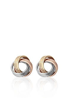 Belk & Co. 10k Tri-Color Gold Love Knot Earrings