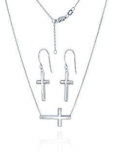 Belk & Co. Super Buy Sterling Silver East to West Cross Necklace & Dangle Cross Earrings Set