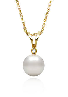 Amour de Pearl 14k Yellow Gold Freshwater Pearl and Diamond Pendant