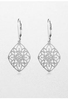 Belk & Co. Diamond Lever Back Earrings in Sterling Silver