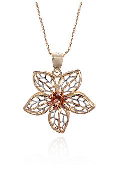 Belk & Co. 14k Tricolor Flower Pendant