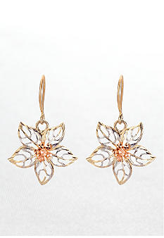 14k Tricolor Flower Earring