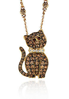 Le Vian Chocolate Diamond® and Vanilla Diamond® Cat Pendant in 14k Honey Gold™