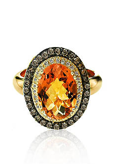 Le Vian Cinnamon Citrine™, Vanilla Diamond®, and Chocolate Diamond® Ring in 14k Honey Gold™