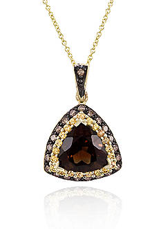 Le Vian Chocolate Quartz®, Yellow Sapphire, and Chocolate Diamond® Pendant in 14k Honey Gold™