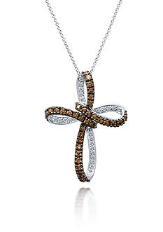 Le Vian Chocolate Diamond® and Vanilla Diamond® Cross Pendant in 14k Vanilla Gold®