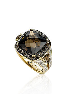 Le Vian Chocolate Quartz, Chocolate Diamonds, and Vanilla Diamonds Ring in 14k Honey Gold