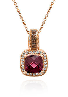 Le Vian Raspberry Rhodolite®, Chocolate Diamond®, and Vanilla Diamond® Pendant in 14k Strawberry Gold®