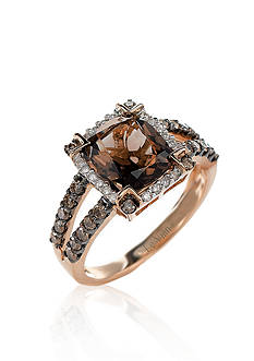 Le Vian Chocolate Quartz®, Chocolate Diamond®, and Vanilla Diamond® Ring in 14k Strawberry Gold®
