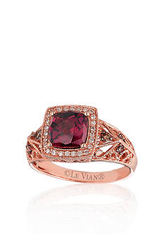 Le Vian 14k Strawberry Gold® Raspberry Rhodolite®, Vanilla Diamond®, and Chocolate Diamond® Ring