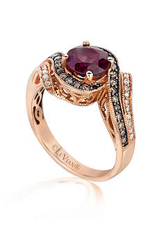Le Vian 14k Strawberry Gold® Raspberry Rhodolite®, Vanilla Diamond™ and Chocolate Diamond® Ring