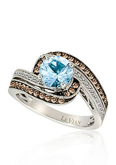Le Vian Sea Blue Aquamarine, Chocolate Diamonds, and Vanilla Diamonds Ring in 14k Vanilla Gold