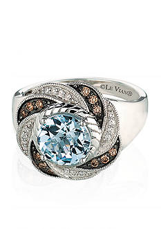 Le Vian 14k Vanilla Gold™ Sea Blue Aquamarine®, Chocolate Diamond® and Vanilla Diamond™ Ring