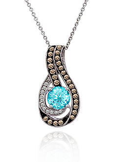 Le Vian Chocolate Diamond®, Vanilla Diamond®, and Ocean Blue Topaz™ Pendant in 14k Vanilla Gold®