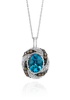 Le Vian 14k Vanilla Gold® Ocean Blue Topaz™ Chocolate Diamond® and Vanilla Diamond® Pendant