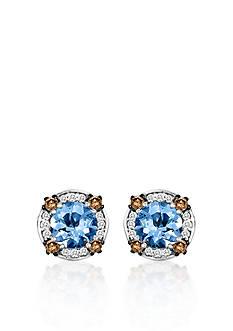 Le Vian 14k Vanilla Gold® Sea Blue Aquamarine®, Chocolate Diamond®, and Vanilla Diamond® Earrings
