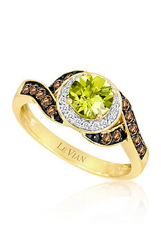 Le Vian Green Apple Peridot, Vanilla Diamonds, and Chocolate Diamonds Wave Ring set in 14k Honey Gold