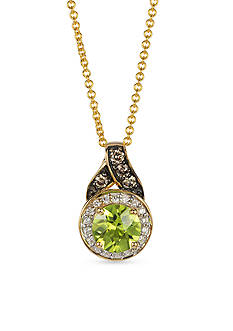 Le Vian 14k Honey Gold™ Green Apple Peridot™, Chocolate Diamond®, and Vanilla Diamond® Pendant