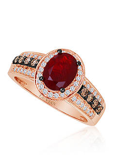 Le Vian Neon Tangerine Fire Opal®, Chocolate Diamond®, and Vanilla Diamond® Ring in 14k Strawberry Gold®