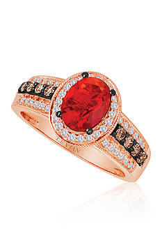 Le Vian Neon Tangerine Fire Opal®, Vanilla Diamond®, and Chocolate Diamond® Ring in 14k Strawberry Gold®
