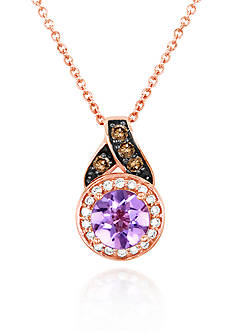 Le Vian 14k Strawberry Gold® Cotton Candy Pink Amethyst®, Chocolate Diamond®, and Vanilla Diamond® Pendant