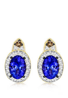 Le Vian® 14k Honey Gold ™ Blueberry Tanzanite™, Chocolate Diamond® and Vanilla Diamond™ Earrings