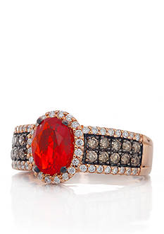 Le Vian Neon Tangerine Fire Opal®, Chocolate Diamond®, Vanilla Diamond® Ring in 14k Strawberry Gold®