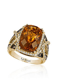 Le Vian Caramel Quartz™, Chocolate Diamond®, and Vanilla Diamond® Ring in 14k Honey Gold™