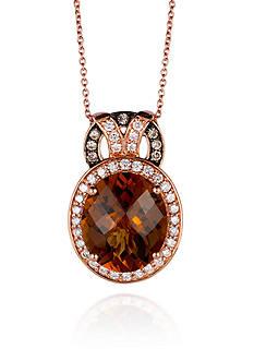 Le Vian 14k Strawberry Gold® Caramel Quartz™ Vanilla Diamond® and Chocolate Diamond® Pendant