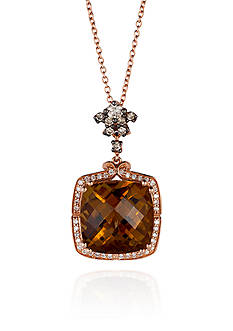 Le Vian 14k Strawberry Gold® Caramel Quartz™, Vanilla Diamond®, and Chocolate Diamond® Pendant