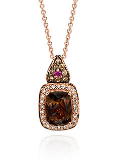 Le Vian 14k Strawberry Gold® Chocolate Quartz®, Vanilla Diamond®, Chocolate Diamond®, and Pink Sapphire Pend