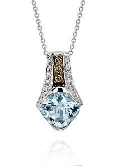 Le Vian Sea Blue Aquamarine, Chocolate Diamonds, and Vanilla Diamonds Pendant Necklace in 14k Vanilla Gold