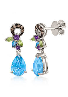 Le Vian Ocean Blue Topaz™, Amethyst, Green Apple Peridot™, and Chocolate Diamond® Earrings in 14k Vanilla Gold&