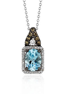 Le Vian 14k Vanilla Gold™ Sea Blue Aquamarine®, Chocolate Diamond® and Vanilla Diamond™ Pendant