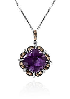 Le Vian Amethyst, Chocolate Diamond®, and Vanilla Diamond® Pendant in 14k Vanilla Gold®