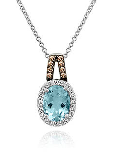 Le Vian 14k Vanilla Gold® Sea Blue Aquamarine®, Vanilla Diamond®, and Chocolate Diamond® Pendant