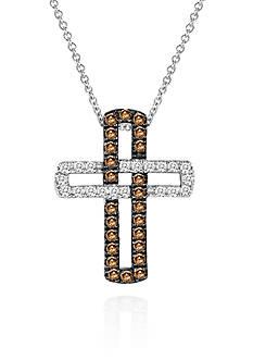 Le Vian Chocolate Diamond® and Vanilla Diamond® Cross Pendant in 14k Vanilla Gold®