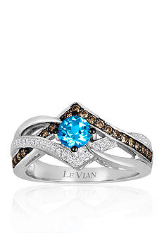 Le Vian® 14k Vanilla Gold® Signity Blue Topaz, Chocolate Diamond®, and Vanilla Diamond® Ring