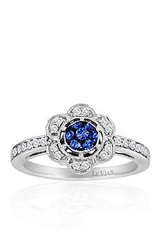 Le Vian® 14k Vanilla Gold® Cornflower Ceylon Sapphire™ and Vanilla Diamond® Flower Ring