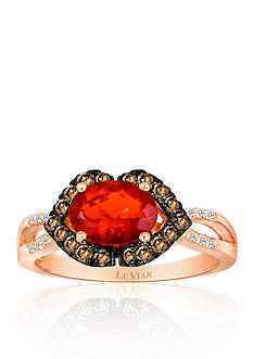 Le Vian Neon Tangerine Fire Opal®, Chocolate Diamond® and Vanilla Diamond® Ring in 14k Strawberry Gold®
