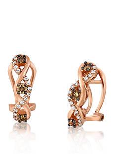 Le Vian Chocolate Diamond® and Vanilla Diamond® Earrings in 14k Strawberry Gold®